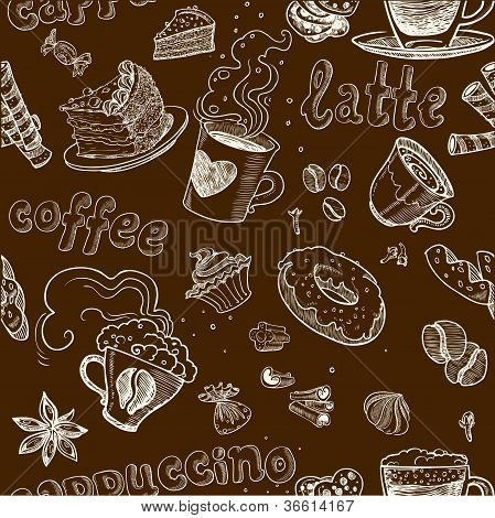 seamless pattern with coffee cakes pies latte and cappuccino on dark background
