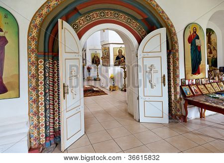 Interior Of Russian Orthodox Church In Novgorod Region, Russia.