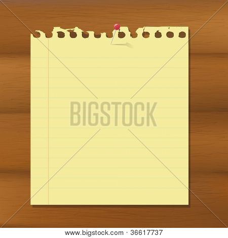 Blank Note Paper On Wooden Brown Background, Vector Illustration