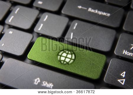Go Green Keyboard Key With Earth, Ecology Background