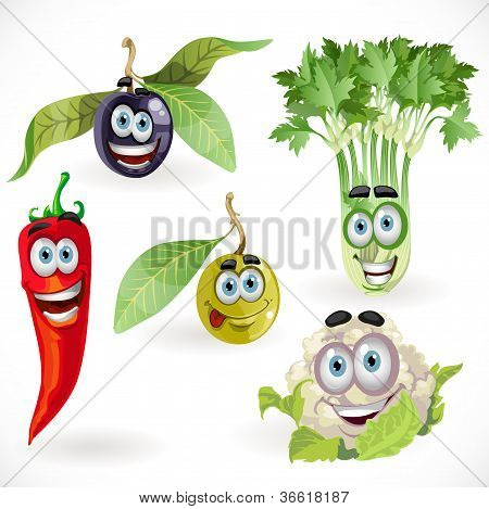 Funny cute vegetables smiles - celery, cauliflower, olives, chili ...
