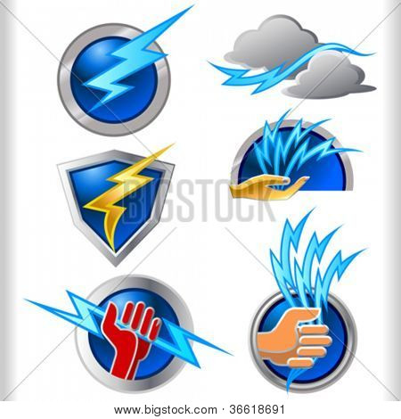 Lightening Energy Symbols and Icons Set