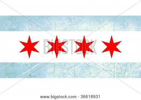 Grunge Chicago city flag, state of Louisiana, U.S.A.