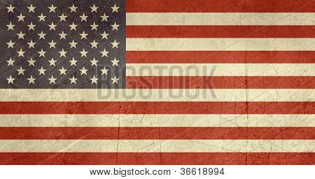 Grunge sovereign state flag of country of United States of America in official colors.
