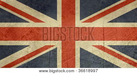 Grunge sovereign state flag of country of United Kingdom in official colors.