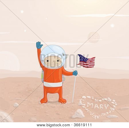 Astronaut with a flag on the surface of Mars is recognized in the love of Mary