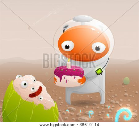 Astronaut on the surface of Mars congratulates with the birth of the extraterrestrial and gives the cake with a candle. Vector illustration.