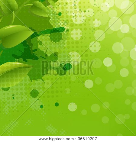 Green Nature Background With Blur Blob And Leaf, Vector Illustration