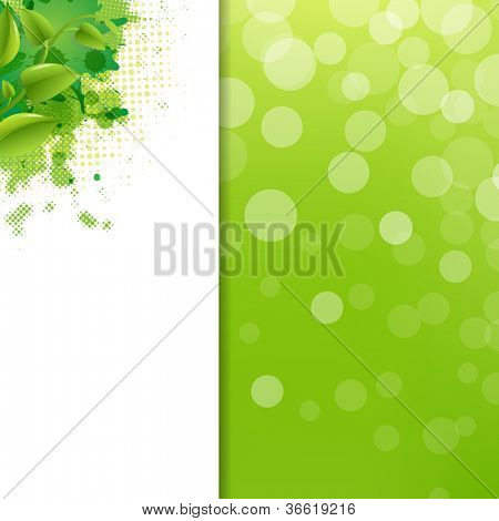 Green Eco Background With Blur And Blob, Vector Illustration