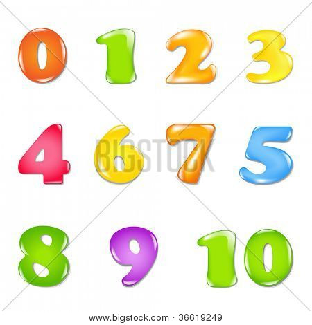 Number Set, Isolated On White Background, Vector Illustration