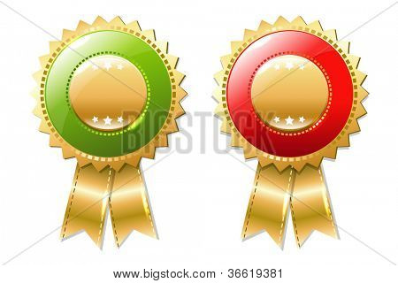 2 Gold Badges Set, Isolated On White Background, Vector Illustration