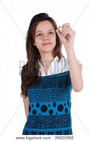 writing beautiful brunette woman. front view. Young girl in blue dress draws. Rear view people collection.  backside view of person. Isolated over white background.