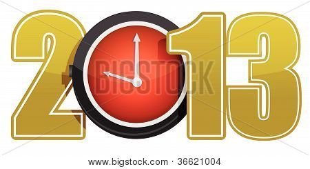 New year 2013 concept with red clock illustration