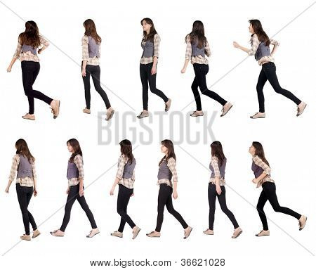 "Collection "" back view of running woman "". walking girl in motion. Rear view people set.  backside view of person. Isolated over white background."