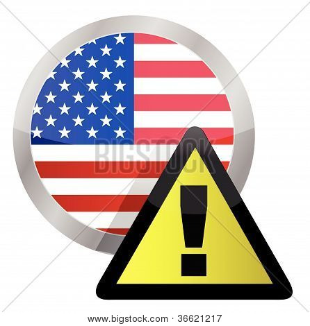 us flag seal with a warning sign illustration on top