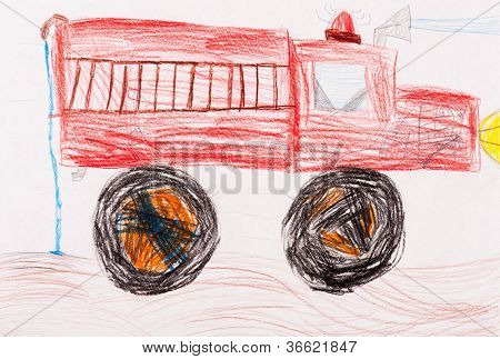 children's drawing. red fire truck