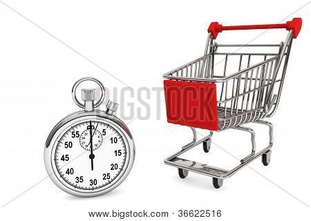 Stoppuhr mit Warenkorb