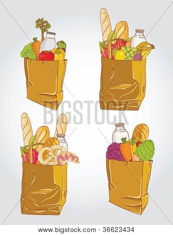 Paper Bag With  Food Bread And Fruits, Vegetable Vector Illustration