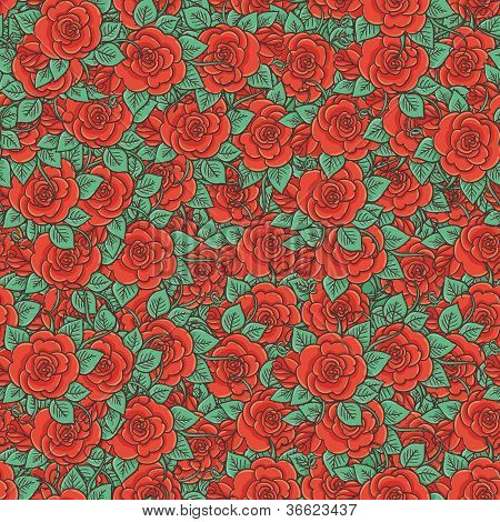 Seamless Pattern On  Retro Style With Red Roses