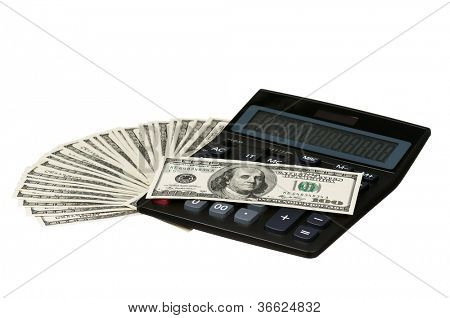 Calculator on heap of dollars isolated on a white background