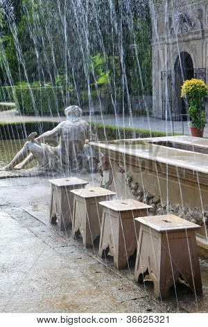Tricky hidden fountains in a dinner table at the Summer Palace (Schloss Hellbrunn) in Salzburg, Austria