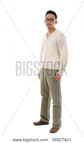 Fullbody 30s Southeast Asian man standing over white background