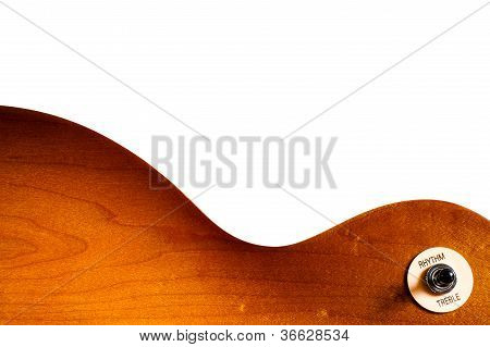 Pattern Wood Of Electric Guitar On White Background