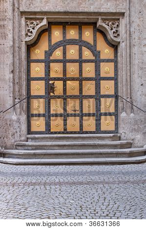 Historic door at the new town hall in Munich, Germany