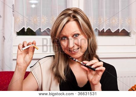 Young Woman Opts For Electronic Cigarette