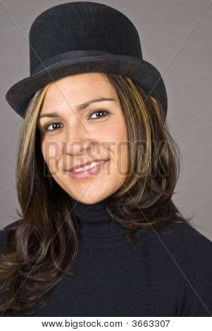 Hispanic Woman In Black Hat