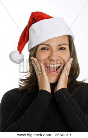 Hispanic Woman Wearing Santa Hat