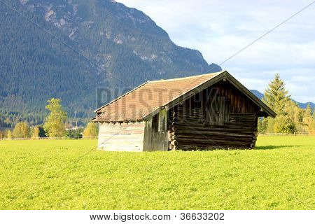 log cabin on the grass