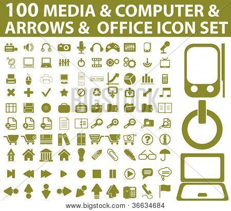 100 media, computer, arrows icons set