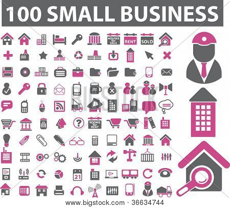 100 small business icons set, vector