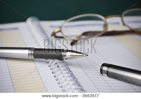 Business Books, Charts, Expenses, Bookkeeping, Pen W/ Glasses