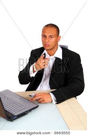 Young Business Man At Laptop