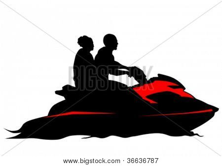 Vector drawing couples on jetski