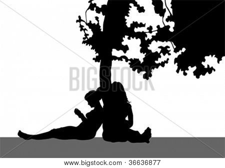 Vector drawing of girls sitting under a tree