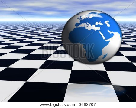 3D World Globe Jumping On Abstract Chess Black And White Infinite Floor With Cloudy Blue Sky