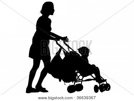drawing of two women and a baby carriage