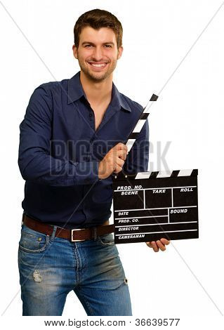 A Young Man Holding A Clapboard On White Background