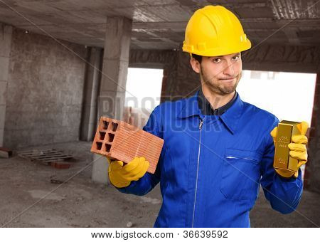 Engineer Holding Brick And Gold Bar, Outdoor