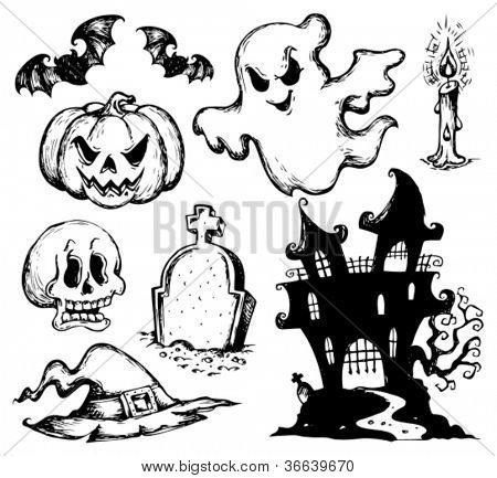 Halloween drawings collection 1 - vector illustration.