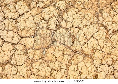 Desert sand texture background. Dry land soil closeup.