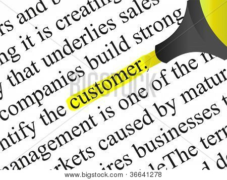 High resolution concept or conceptual abstract black text isolated on white paper background with yellow marker as a metaphor for customer,target,marketing,client,service,strategy,business or consumer