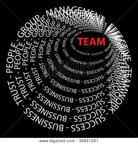 Concept or conceptual red and white round text wordcloud or tagcloud isolated on black background as metaphor for business,team,teamwork,management,effective,success,communication,company, cooperation