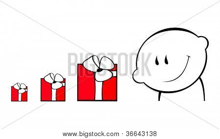 image how man compare gifts, isolated on white