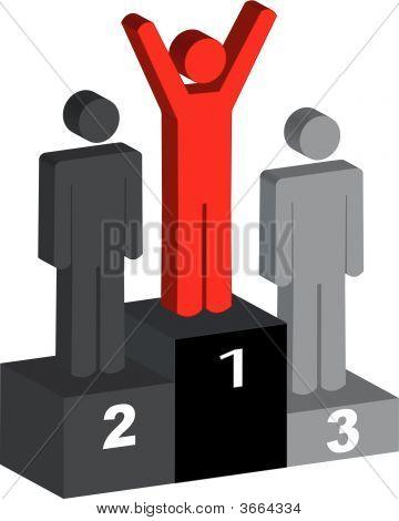 Stick Men With Winner On Podium.Eps