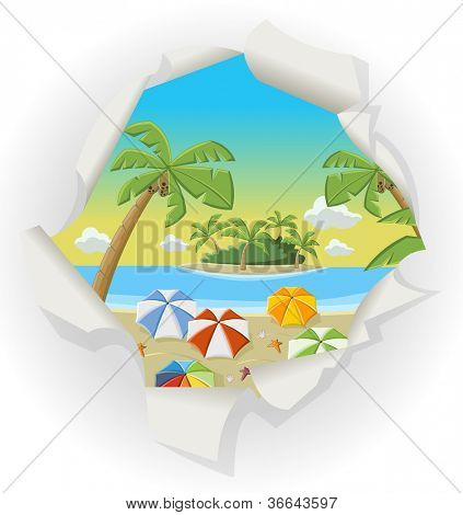 Paper hole showing a beautiful tropical beach with blue ocean, umbrellas and palm / Coconut trees.