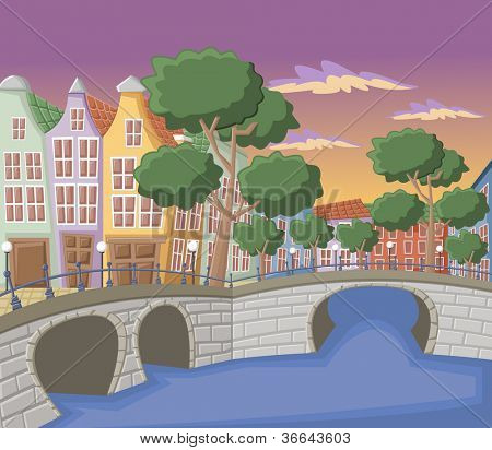 Beautiful colorful buildings in Amsterdam with canals, bridge and typical dutch houses